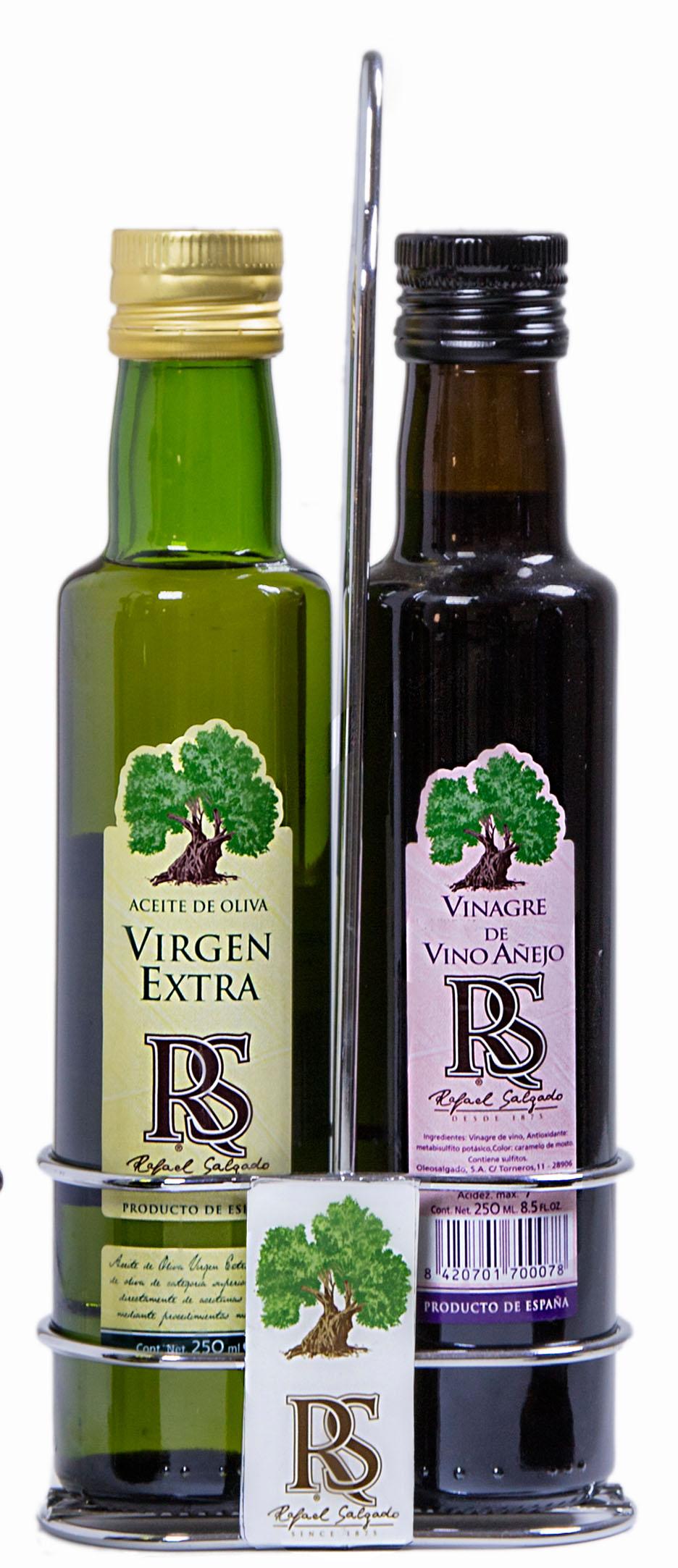 Vinagrera logo RS botella redonda Virgen y Jerez